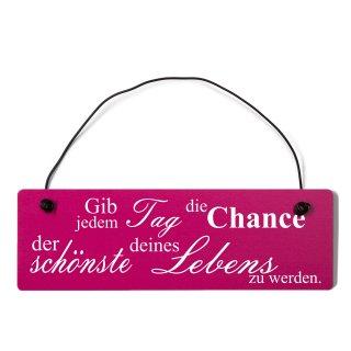 Gib jeden Tag die Chance Dekoschild Türschild pink mit Draht