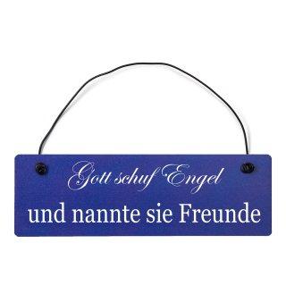 Gott schuf Engel Freunde Dekoschild Türschild hellblau mit Draht