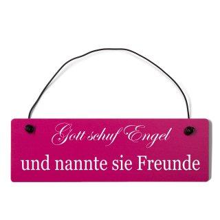 Gott schuf Engel Freunde Dekoschild Türschild pink mit Draht