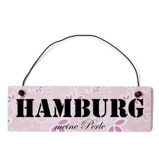 Hamburg Dekoschild Türschild rosa mit Draht