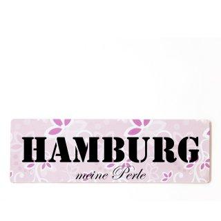 Hamburg Dekoschild Türschild rosa zum kleben