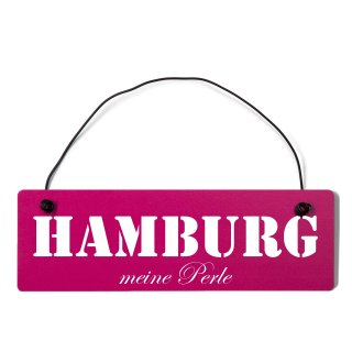 Hamburg Dekoschild Türschild pink mit Draht