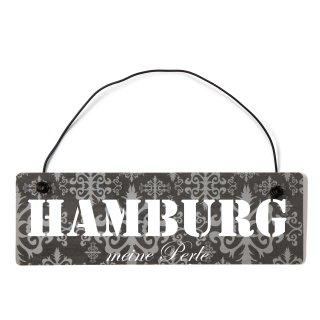 Hamburg Dekoschild Türschild lila mit Draht