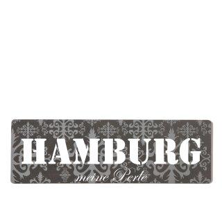 Hamburg Dekoschild Türschild lila zum kleben