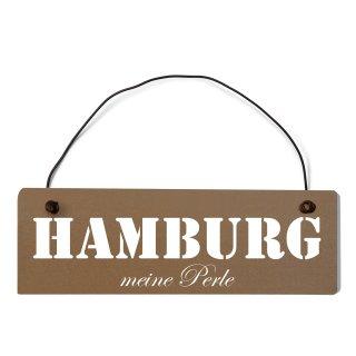 Hamburg Dekoschild Türschild braun mit Draht