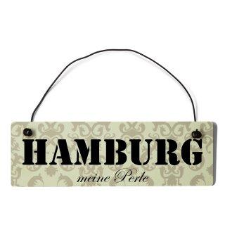 Hamburg Dekoschild Türschild beige mit Draht