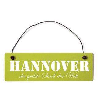 Hannover Dekoschild Türschild grün mit Draht