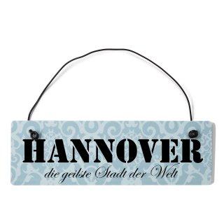 Hannover Dekoschild Türschild blau mit Draht