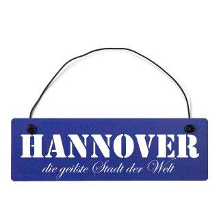 Hannover Dekoschild Türschild hellblau mit Draht