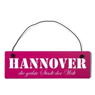 Hannover Dekoschild Türschild pink mit Draht