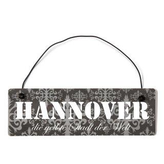 Hannover Dekoschild Türschild lila mit Draht