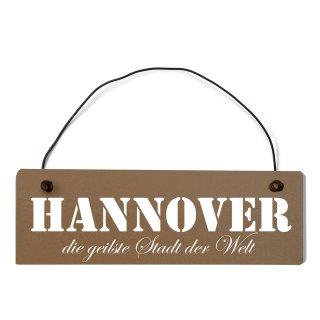 Hannover Dekoschild Türschild braun mit Draht