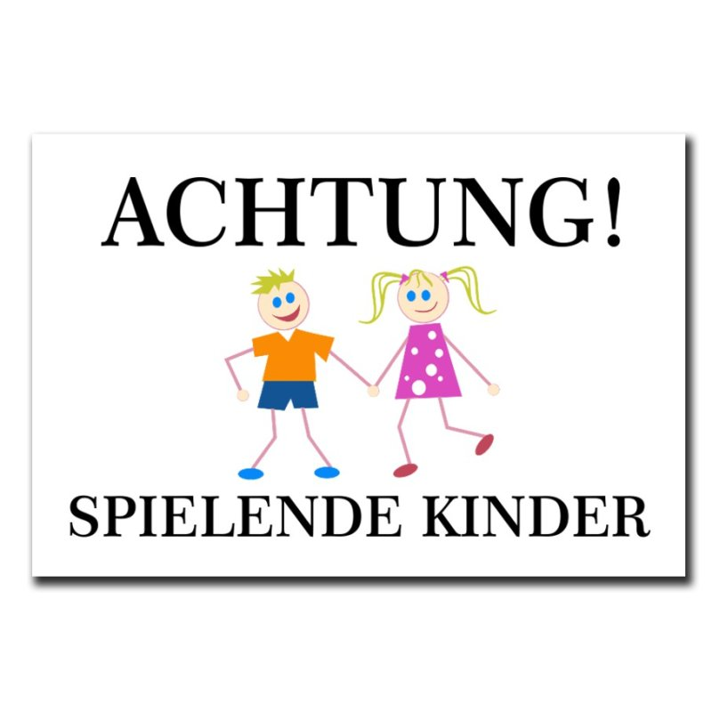 hinweisschild achtung spielende kinder 300x200 mm warnschild aluverbu. Black Bedroom Furniture Sets. Home Design Ideas