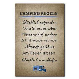 Camping Regeln Deko Schild Wandschild