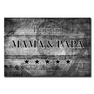 Pension Mama & Papa Deko Schild Wandschild